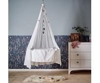 Hvit vugge med madrass og krok - Leander