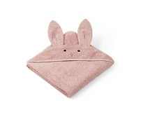 Lyserosa håndkle med kanin 100x100 - Liewood