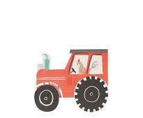 Servietter, bondegård traktor, 16 stk - Meri Meri