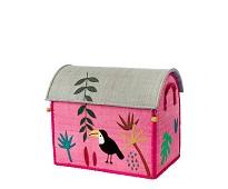 Oppbevaring, kurvhus med rosa jungel, 45x26 - Rice