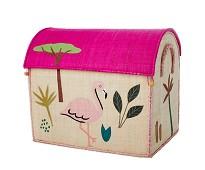 Oppbevaring, kurvhus med rosa jungel, 54x34 - Rice