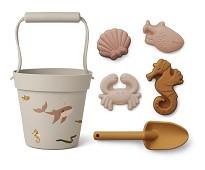 Rosa bøtte, spade og sandfigurer, havdyr - Liewood