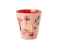 Rosa kopp i melamin med flamingo, 7 cm - Rice