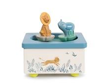 Spilledåse med elefant og løve - Moulin Roty