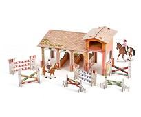 Stall i solid kartong med 4 figurer - Papo
