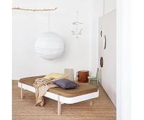 Wood dagseng 90 cm, hvit/eik