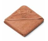 Oransje håndkle med bjørn 100x100 - Liewood