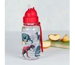 Drikkeflaske med dinosaurer, rødt lokk og sugerør
