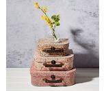 Kofferter med blomster, 3 stk
