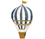 Veggdekor, stor blå luftballong