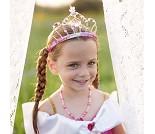 Rosa tiara med perler, kostymetilbehør