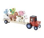 Traktor med henger og bondegårdsdyr, stableleke