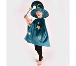 Kostyme, kappe og heksehatt i blå velur