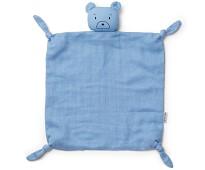 Blå koseklut med bjørn - Liewood