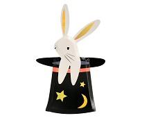 Papptallerken, kanin i flosshatt, 8stk - Meri Meri