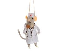 Juletrepynt, mus med legefrakk