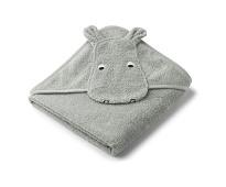 Grått håndkle med flodhest 100x100 - Liewood