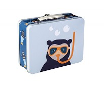 Koffertmatboks, blå Brillebjørn - Blafre