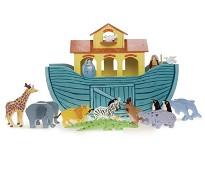 Noahs Ark, lekebåt og dyr i tre - Le Toy Van