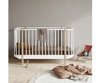 Hvit/eik sprinkelseng, Oliver Furniture