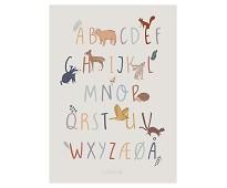 Plakat med alfabet, skogsdyr - Sebra