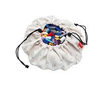 Mini oppbevaringspose og leketeppe med regnbuer