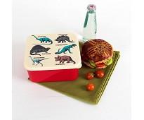 Rød matboks med dinosaurer