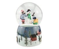 Snøkule med barn og snømann